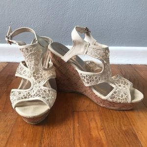 MADDEN GIRL Wedge Cork Heel with Lace